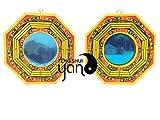 fengshuiyan 4pulgadas pa kua espejo conjunto de 2para protección; Un espejo cóncavo para protección contra la energía negativa pasiva y un espejo convexo para la protección contra energía perjudiciales activa