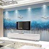 3D Papier Peint Non Tissé Nouveau Canapé De Salon De Style Chinois Haiou Paysage Bleu Style Ancien Fond D'Écran Moderne À Main Levée Abstrait Encre Peinture Papier Peint, 250Cm * 175Cm