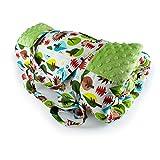 1buy3 Krabbeldecke, Picknickdecke, wärmeisoliert und wasserdicht mit Tragegriff, Grün + Igel, 170 x 140 cm