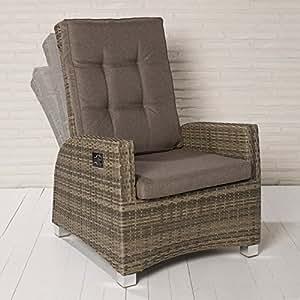Luxus XL Rocking Chair Monte-Carlo braun Gartenstuhl Alu Polyrattan Gartensessel