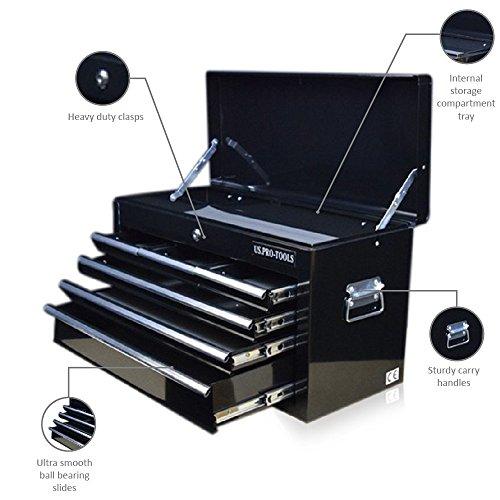 Werkzeugkiste Mit Schubladen (US Pro Tools Tragbarer Werkzeugkoffer mit 6 Schubladen, glänzend Schwarz, Schubladen mit Kugellager)