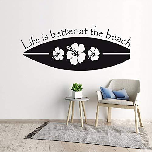 l Wall Decal Leben ist besser am Strand Wall Decal Meer Strand Thema Home Decor Surfen Liebhaber Geschenk57 x 23 c ()