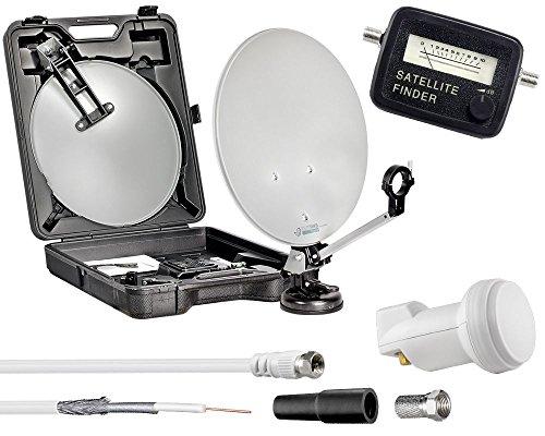 Digitaler Camping Mobil Koffer HDTV 3D Camping SAT-Anlage im Koffer-Set mit Single LNB 0,1dB, 40cm Spiegel, Saugfuss, Kompass und 10m Kabel