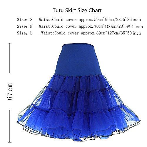 Honeystore Damen's 50s Rock'n'Roll Ballet Petticoat Abschlussball Party Halloween Kostüme Tutu Rock König Blau
