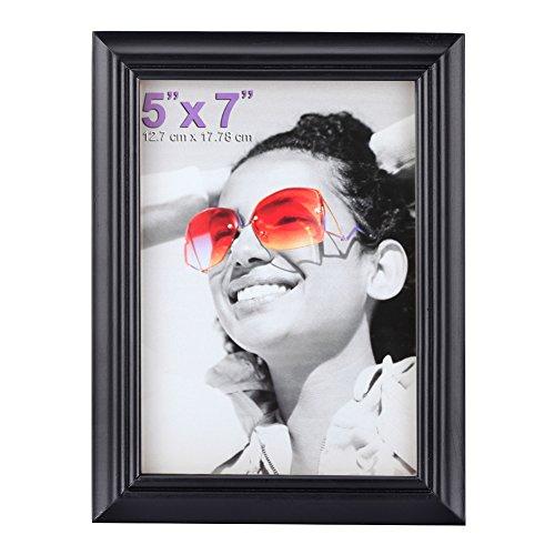 Bilderrahmen 5x7 Wand (13x18cm (5x7 Inch) Bilderrahmen aus Massivholz High Definition-Glas für Bilder ohne Passepartout zur Wandbefestigung Fotorahmen Schwarz)