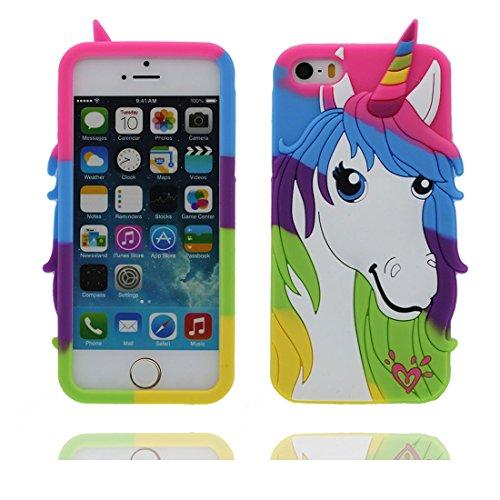 "Apple iPhone 5 (4.0"") Hülle, [Einhorn, unicorn flexible durable TPU] rückseitige Handy für iPhone 5G, SE, 5C, iPhone 5S Case, Anti-Beulen, Fingerabdrücke, Kratzer Color 1"