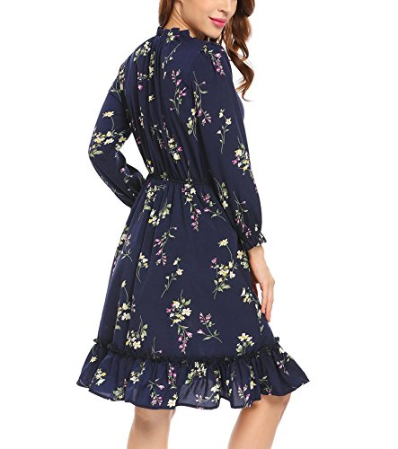 Zeela Damen Herbst Langarm kleid Knielang Rüschen Floral kleid A-linie Blumen Vintage Abendkleid Casualkleid Cocktailkleid Partykleid Blau