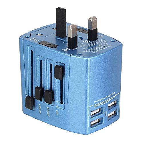 Adattatore Universale da Viaggio Travel Adapter Universal (US / EU / UK / AUS) Caricatore 4 Porte USB per Oltre 150 Paesi Internazionale di Potere di Corsa Spina CA Della Presa di Corrente–Milool (Azzurro)