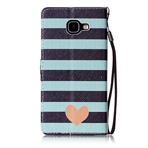 für Smartphone Samsung Galaxy A5 (6) SM-A510F (2016) Hülle, Leder Tasche für Samsung Galaxy A5 (6) SM-A510F (2016) Flip Cover Handyhülle Bookstyle mit Magnet Kartenfächer Standfunktion ( + Staubstecke 3