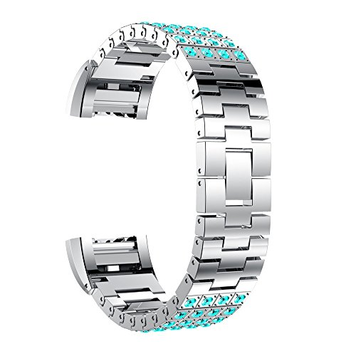 MYQyiyi myqyiyi Watch Strap Edelstahl-Armband Smartwatch für Fitbit Charge 2(D)