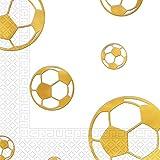 Procos 15 Servietten * FUSSBALL * für WM 2018-Party oder Kindergeburtstag//in Gold-Design//WM 2018 Mottoparty Geburtstag Soccer Papierservietten