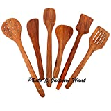 #4: Jaipuri Haat Hand made High Quality Mango wooden Serving and Cooking Spoon/spatula Kitchen Utensil Set of 6