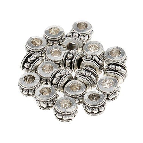 Homyl 20er-Set Antik Silber Haar Perlen Dreadlocks Perlen Haar Bart Dekorationen Flechten Zöpfe Deko Perlen Haarschmuck