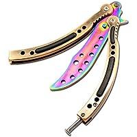 CSGO CS/HDD14 - Navaja plegable de tipo mariposa, acero inoxidable, diseño curvado con agujeros, para practicar trucos