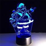 CFLEGEND3D Nachtlicht Santa (Touch + Remote) LED Illusion Tischlampe Flutlicht Weiches Licht Statue Kinderzimmer Schlaf Licht Dekoration Licht Party Licht Rutsche 7 Farbe USB