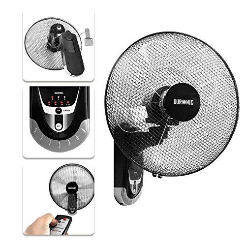 Duronic FN55 Wandventilator 60W - Durchmesser: 40 cm - Timer und Fernbedienung - 3 Geschwindigkeiten - kompakter und leiser Ventilator für Zuhause und Büro
