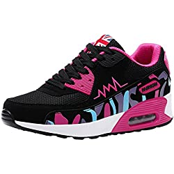 wealsex Baskets Chaussures Jogging Course Gym Fitness Sport Lacet Sneakers Style Running Multicolore Respirante Femme(Noir et Rose/Mesh,36)