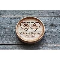 """Matrimonio fedi Cuscino anelli matrimonio rustico elegante decorazioni Cuscino per anello """" Due cuori """" , """"Two Hearts"""""""