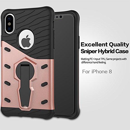 Meimeiwu Armatura Custodia Cover Doppio Strato TPU + PC Antiurto Protezione Goccia Difensore Custodia Protettiva Case per iPhone 8 - Oro Rose Oro