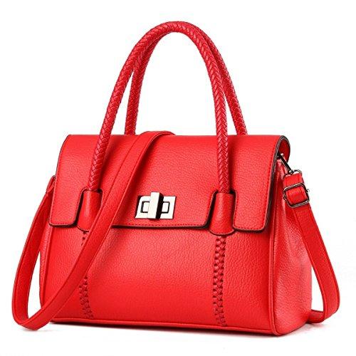 Frauen-PU-Leder-Mode-Handtasche Crossbody Beutel Top-Griff Schultertasche Red