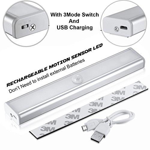 Techzere Rechargeable Motion Sensor PIR 10 LED Night Light. Stick to wall or any surface. Can be used at Closets, Bathroom, Wardrobe, Drawer, Corridor, Staircase Etc (Cool White Light, Pack of 1)