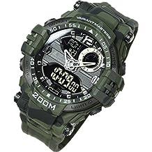 LAD WEATHER - Reloj para hombre, impermeable, militar, camuflaje, actividades al aire