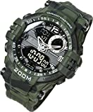 Lad-Weather Stoppuhr Countdown-Timer-Alarm-Rundenzeiten Weltzeit Marine-Camouflage-Combat-Sport-Uhr...