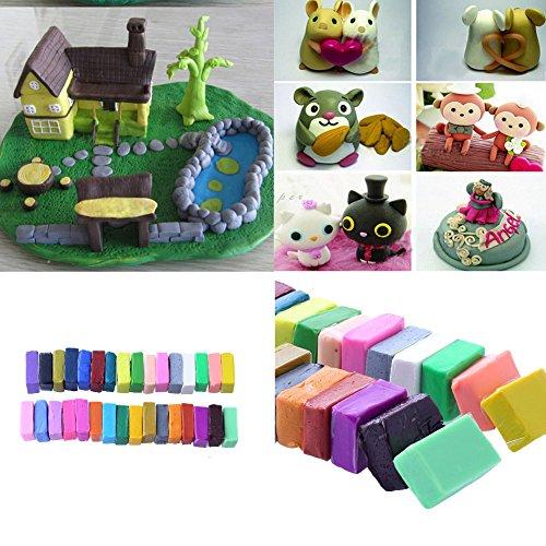 JWBOSS 32 Farbe + 5 Werkzeuge Polymer Ofen Bake Clay Block Formwerkzeug DIY - Polymer Farbe Clay