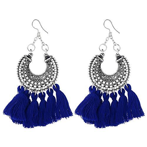 Mibuy Mode Quaste Handgemachte Ohrringe Böhmen Nationaler Stil für Frauen Alltagskleidung Hochzeit Leistung (Blau)