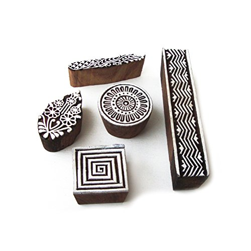 ethnique-spirale-et-floral-designs-bois-tampons-pour-impression-set-de-5