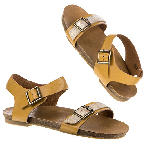 Damen Schuhe SANDALEN MODISCHE SCHNALLEN LEDER SANDALETTEN Camel