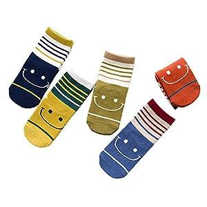 RUOHAN Kinder Socken 5 Paar Kindersocken Baumwolle Herbst Kindersocken Lächelngesicht Farbstreifen Baumwollsocken
