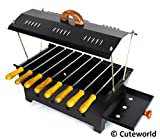 #8: Cuteworld Barbeque Grill | Travel Essentials | Hut Shaped Barbeque with 8 Skewers Charcoal Grill Compact BBQ Black Iron Barbecue