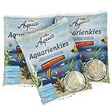 Dehner Aqua Aquarienkies, Körnung 3 - 5 mm, 3 x 5 kg (15 kg), weiß