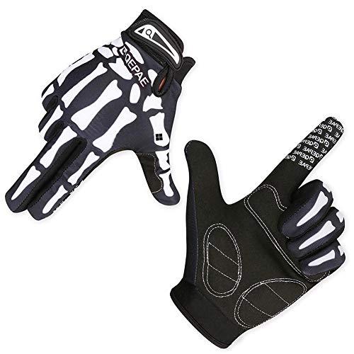 CAheadY Schädel Skelett Outdoor Sport Radfahren Warme Anti-Rutsch-Vollfinger-Unisex-Handschuhe Black M