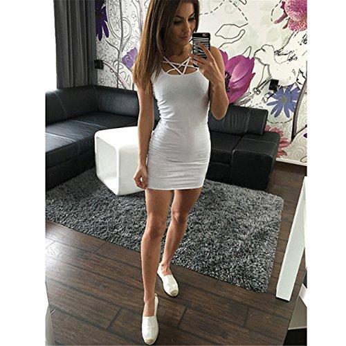 LOBTY Minikleid Damen SommerKleider Bandage Dress Abendkleider Strankkleid Cocktailkleider Petticoat A-Linie Rock viele Farben Weiß
