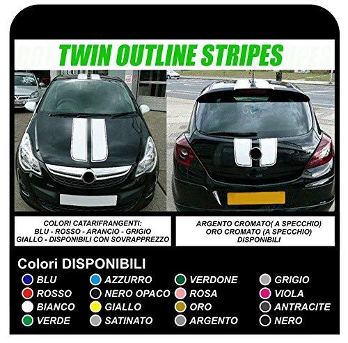 Aufkleber für Autos Motorhaube UND Dach Grafik Klebebänder (SCHWARZ)