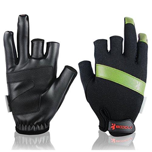 Andux 1 Paar Fanghandschuhe Sonnenschutz Absorption von Schweiß Schnell trocknend DREI Fingerlose Handschuhe Segelboot Drachenboot Handschuhe F-DYST01 (Grün, M)