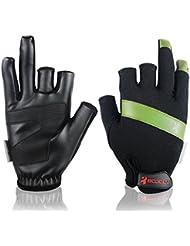 Andux 1 par de guantes de pesca Protección solar Absorción de transpiración Guantes de tres dedos sin secado rápidos Barco de vela Guantes de barco dragón F-DYST01 (Verde, L)
