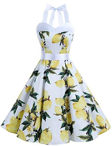 Dresstells Version3.0 Vintage 1950's Audrey Hepburn pin-up robe de soirée cocktail, style halter années 50 à pois Citron 3XL