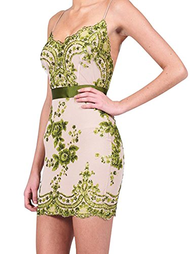 Simplee Apparel - Robe - Moulante - Sans Manche - Femme Small Vert