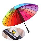 MENGCORE 24k Rib Large Color Rainbow Umbrella Fashion Long Handle Straight Anti-UV Sun/Rain