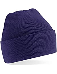 Beechfield Knitted hat with turn up in Purple