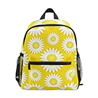 School Bag Yellow Daisy Flower Pattern Preschool Backpacks Children Travel Daypack for Boys Girls