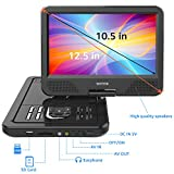 "WONNIE 12.5"" Portable DVD Player with 10.5 inches 270° Swivel Screen Built-in Rechargeable Battery SD Card and USB, Direct Play in Formats AVI/MP3/JPEG/RMVB (12.5, Black)"