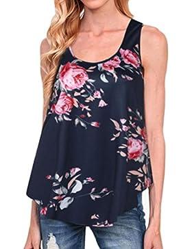 Goodsatar Mujer Camiseta de impresión floral Camisetas sin mangas O Neck Blusa de espalda
