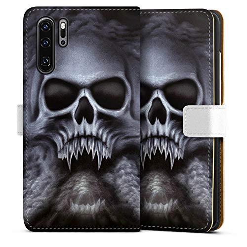 mpatibel mit Huawei P30 Pro Leder Flip Case Ledertasche Totenkopf Schädel Skull ()