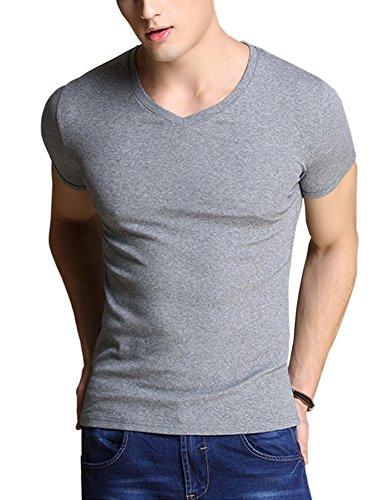 Yieks Herren Slim-Fit T-Shirt V-Ausschnitt Aus Baumwolle Einfarbig in Weiß/Schwarz/Grau Grau