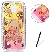 LG K3 2017 Case Silicone,[with Free Black Touch Stylus] KaseHom Gradient Colour Gold and Pink Soft TPU Bumper Skin Bling Glitter Diamond Unique Fashion Design Pattern Ultra Slim Shell Shockproof Anti-Scratch Protective Cover for LG K3 2017,Bear Flowers