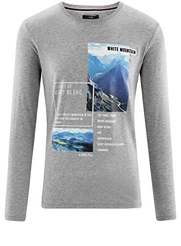 oodji Ultra Herren Langarmshirt mit Druck Grau (2310P)